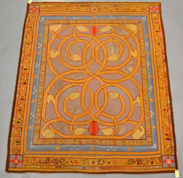 Lot 1542. Hooked pile rug worked with a design in the Arts and Crafts manner, probably English, late 19th/early 20th century, 6ft. 11in. X 5ft. 6in. 2.11m. x 1.68m. £500-700