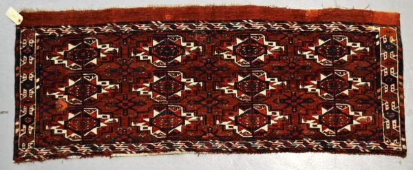 Lot 1951. Chodor main carpet, south Turkmenistan, mid-19th century, 12ft. 7in. x 7ft. 5in. 3.84m. x 2.26m. £800-1200