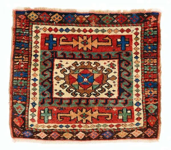 Lot 294, a Kurdish bag face, West Persia from the end of the 19th century. Size 53 x 61 cm and estimate 300 EUR