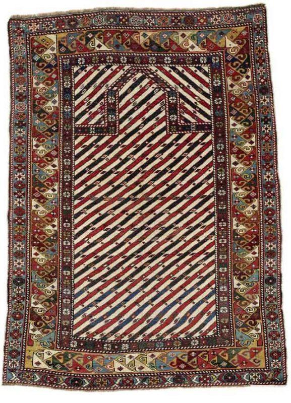 Lot 115, a Shirvan prayer rug, East Caucasus, 134 x 95 cm, second half 19th century, estimate 9,000.00 €