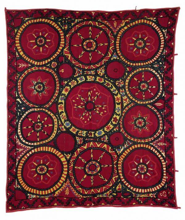 Lot 86, a Pskent Suzani, Central Asia, Uzbekistan, 243 x 213 cm, second half 19th century, estimate 2,400.00 €