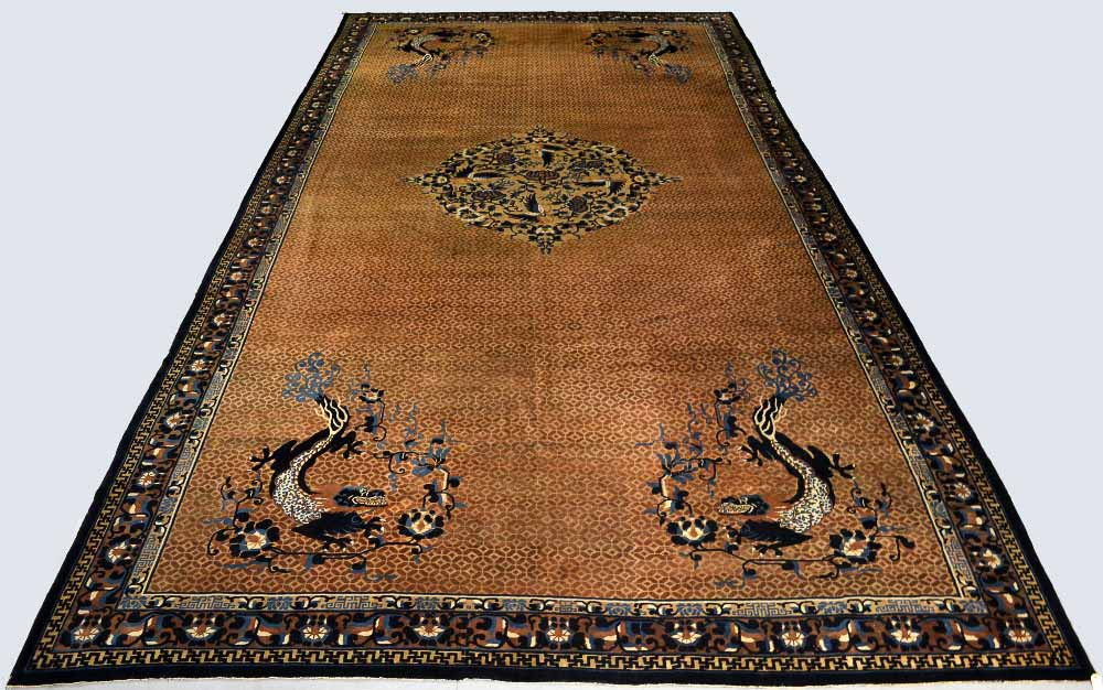Lot 1625. Large fragmented Chinese carpet, and six separate pieces, probably Beijing, about 1900, 26ft. 4in. x 13ft. 1in. 8.03m. x 3.99m. Estimate: £2000-4000