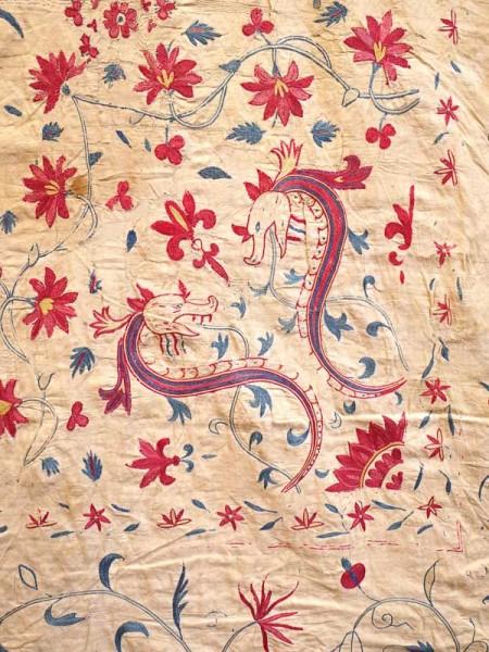 Detail of an 18C Indian Moghul summer carpet