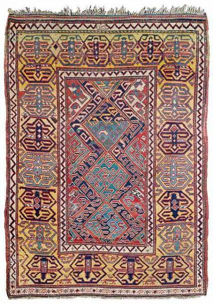 Lot 1, a Caucasian rug dated 1824. 156 x 108 cm. Estimate 1500 EUR