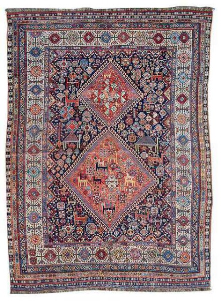 Lot 88, a Khamseh rug, South Persia, late 19th century. 206 x 153 cm. Estimate 1000 EUR