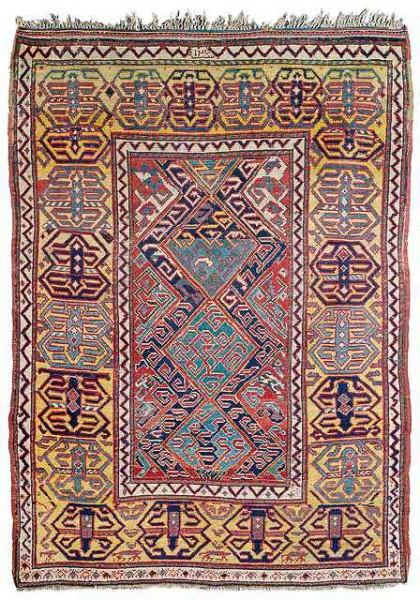 Lot 1, a Caucasian rug dated 1824. 156 x 108 cm. Estimate 1,500 EUR and hammerpric e 21,000 EUR