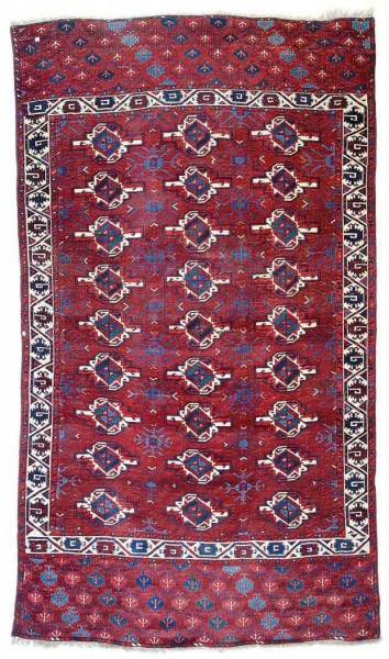 Lot 124, a Yomut main carpet 9ft. 2in. x 5ft. 3in. Turkmenistan circa 1800. Estimate € 50,000 – 70,000 and hammer price € 45,000