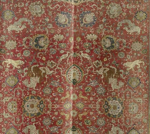 Lot 150W. DETAIL OF AN AGRA CARPET, North India, circa 1880 738 x 334 cm. Sold £9,375