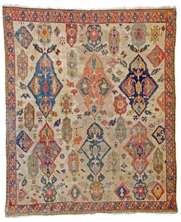 Lot 169, an Azerbaidjan carpet 8ft. 6in. x 7ft. Azerbaidjan 18th century. Estimate € 15,000 – 20,000 and hammer price € 34,000