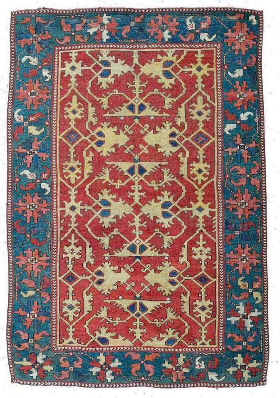 Lot 29, a Lotto rug 5ft. 7in. x 3ft. 10in. Turkey circa 1700. Estimate € 12,000 – 15,000 and hammer price € 24,000