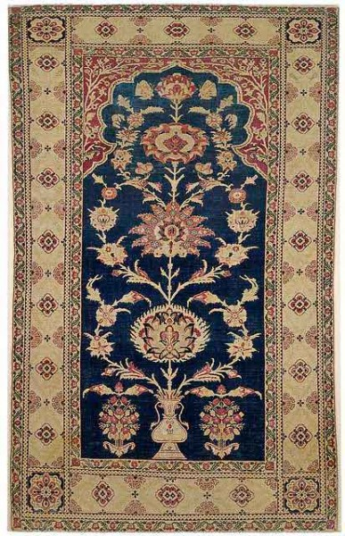 Lot 33, a Mughal prayer rug, India, late 18th/19th century. 226 x 137 cm. Estimate 5,000 EUR and hammerprice 5,000 EUR