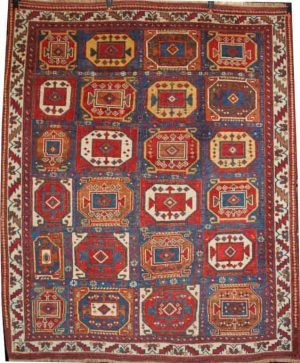 An unusual antique Afshar rug exhibited by Seneh Carpets