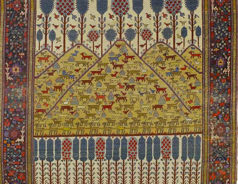 DETAIL OF A BAKSHAISH RUG, NORTHWEST PERSIA, approximately 224 by 178cm; circa 1800. Estimate 25,000 — 35,000 GBP. LOT SOLD 52,500 GBP