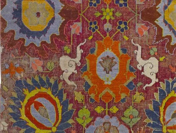DETAIL OF A KHORASSAN CARPET FRAGMENT, NORTHEAST PERSIA, approximately 222 by 92cm; 17th century. Estimate 6,000 — 8,000 GBP. LOT SOLD 37,500 GBP