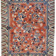 Lot 136, a mid 19th century Ningxia carpet, West China. Dimensions 358 x 286 cm. Estimate 14,500.00 €