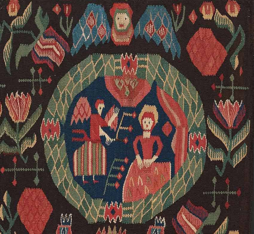 Detail of lot 1717. CARRIAGE CUSHION. Tapestry weave. 52 x 96,5 cm. Scania, first half of the 19th century. Estimate 661 - 771 EUR