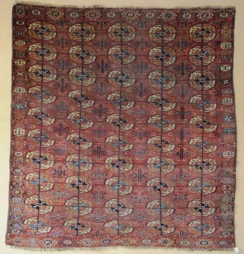 Early Tekke Main Carpet, Central Asia, circa 1800, 2.10m x 1.95m. Exhibitor Aaron Nejad