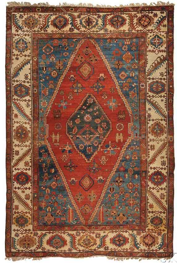 Lot 169, a Bakshaish Carpet, Northwest Persia, late 19th century, 13 ft. 6 in. x 9 ft. Estimate $7,000-8,000
