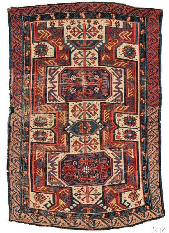 Lot 299, a Kuba Seichour Rug, Northeast Caucasus, late 19th century, 5 ft. 1 in. x 3 ft. 4 in. Estimate $800-1,200