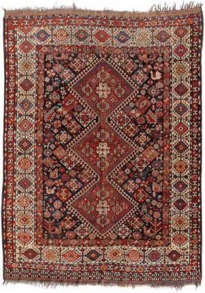 Lot 532. Qashqai circa 1900, 140x200 cm (ft. 4.5.x6.6). Estimate EUR 1,000 - 1,170