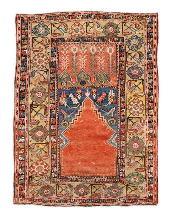 Lot 705, a 19th century Konya prayer rug 135x100 cm. Estimate 1,800-2,200 EUR