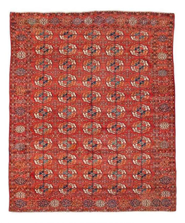 Lot 738, a Tekke main carpet circa 1870. Size 254x211. Estimate 3,000-3,500 EUR