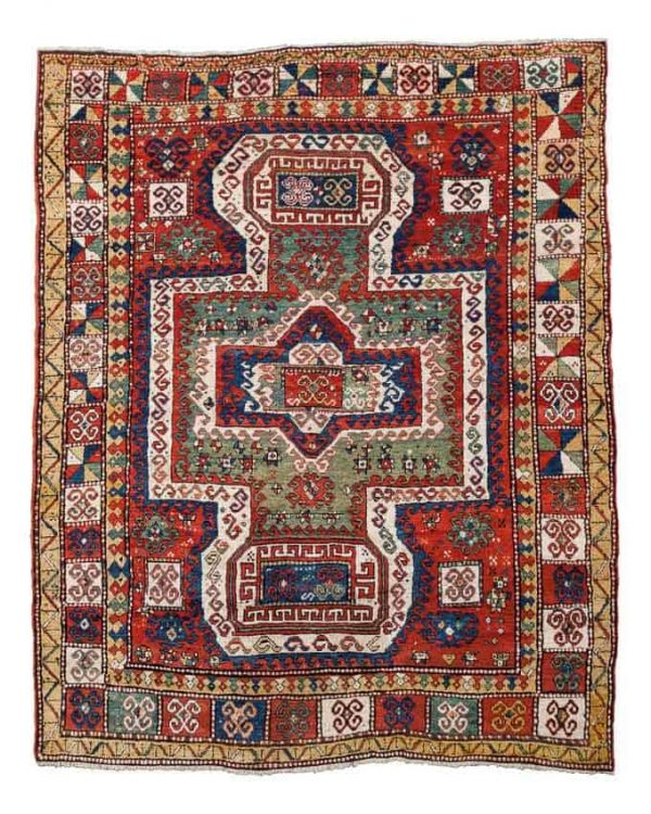Lot 740, a semi-antique Sevan Kazak rug. Size 250x200 cm. Estimate 3,500-4,000 EUR