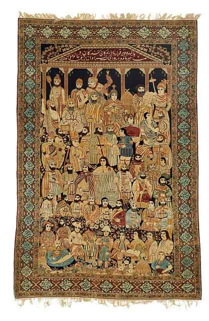 "An historical antique Kerman Lavar rug, South central Persia. ""The Leaders Of The World"" pictorial rug. Late 19th century. 238 x 154 cm. Est. 17.000-20.000.- Euro."