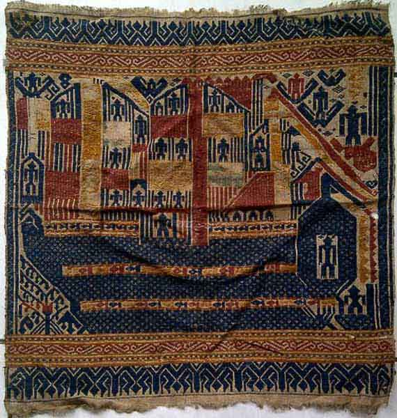 With a very rare motif of a Dutch Ship.From Kota Agung region in Sumatra