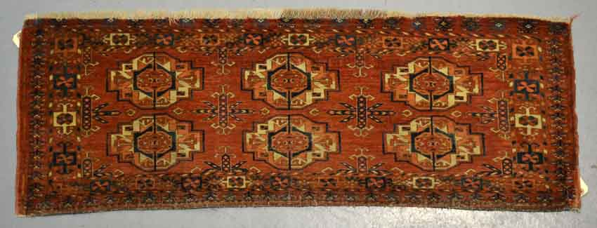 Lot 427. Tekke Turkmen 6-gul torba face, Turkmenistan, mid-19th century 1ft. 4in. x 3ft. 9in.  0.40m. x 1.14m. £900-1000