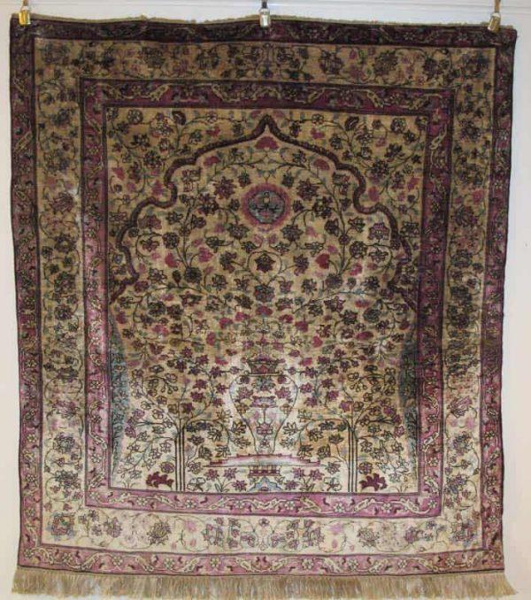 Silk 'Mohktashem' Keshan Rug, Central Persia, circa 1880, 1.30m x 1.20m. Exhibitor Aaron Nejad