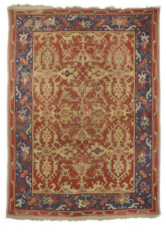 Lot 1: An Ushak Lotto-Carpet, west Anatolia, 17th century, 154 x 111 cm, estimate 6.000 €