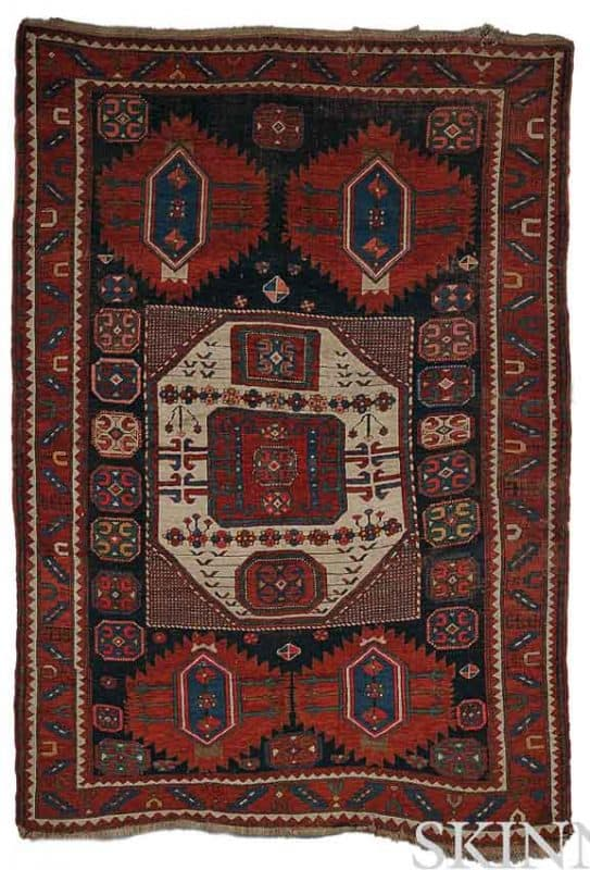 Lot 261. Karachov Kazak Rug, Southwest Caucasus, late 19th century, 8 ft. 8 in. x 5 ft. 11 in. Estimate $1,500-1,800