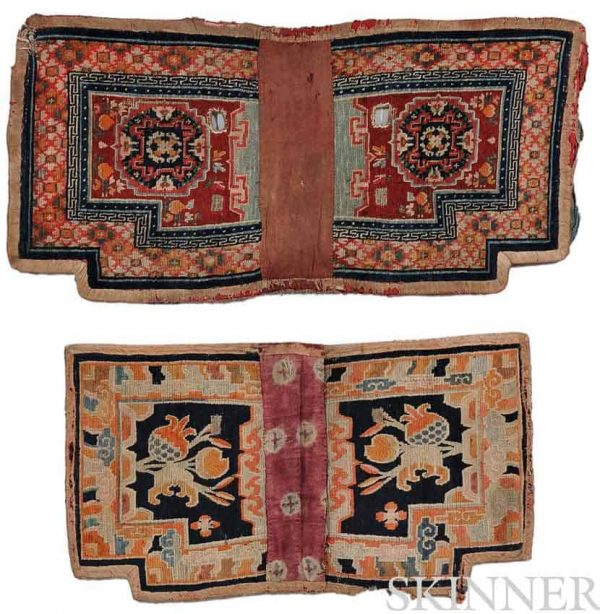 Lot 248. Two Tibetan Saddle Rugs, early 20th century, 1 ft. 11 in. x 3 ft. 6 in., and 2 ft. 1 in. x 4 ft. 3 in. Estimate $500-700