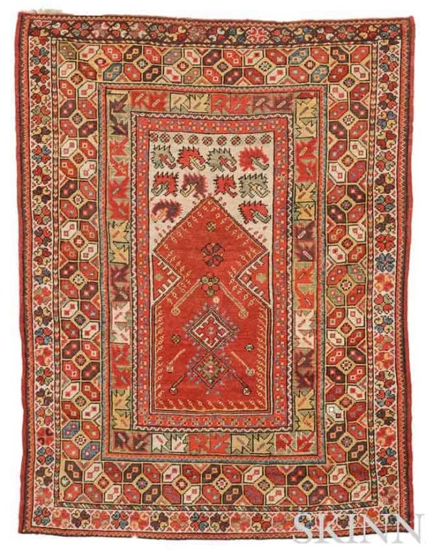 Lot 5. Melas Prayer Rug, Southwest Anatolia, circa 1850, 4 ft. 11 in. x 3 ft. 8 in. Estimate $2,500-3,000