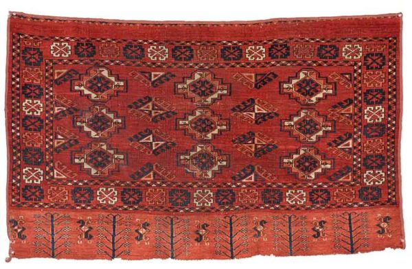 Lot 234. Ersari Chuval, West Turkestan, third quarter 19th century, 2 ft. 9 in. x 4 ft. 5 in. Estimate $600-800