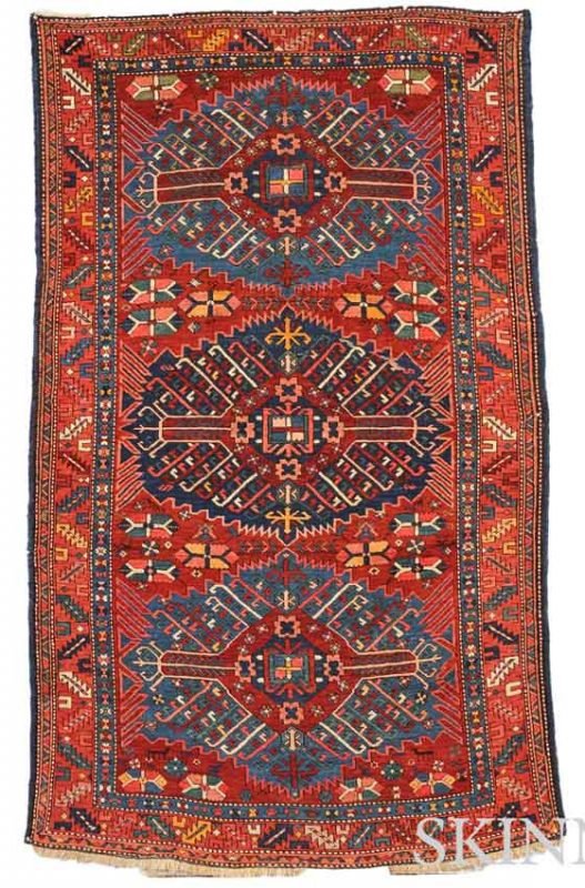 "Lot 256. ""Zejwa"" Kuba Rug, Northeast Caucasus, early 20th century, 6 ft. 10 in. x 4 ft. 3 in. Estimate $800-1,000"