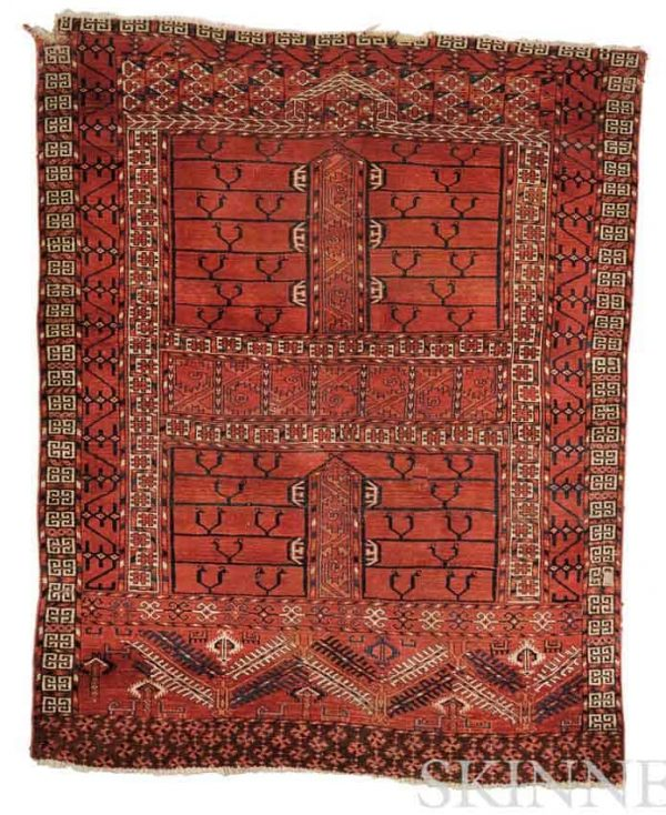 "Lot 131. Tekke ""Animal Tree"" Engsi, West Turkestan, mid-19th century, 5 ft. x 3 ft. 11 in. Estimate $8,000-10,000"