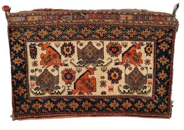 Lot 28. Afshar Bag, South Persia, late 19th century, 1 ft. 11 in. x 2 ft. 11 in. Estimate $800-1,000