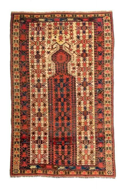 Lot 156. Lot 156. Beshir prayer rug, 6ft. 3in. x 3ft. 11in. 191 x 120 cm, Turkmenistan 1860. Estimate €7,000 – €9,000