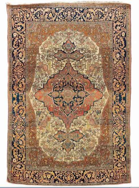 Lot 14. Kashan Mohtashem 215x 143 cm, late 19th century. Estimate EUR 1,700 to 2,000