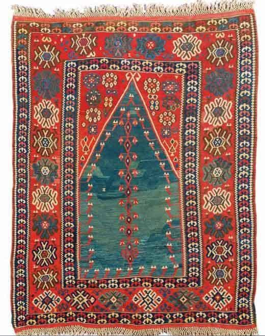 Lot 195. Kurdish Erzerum prayer kilim, ca.170 x 134 cm, second half 19th century. Estimate EUR 4,500 to 5,000