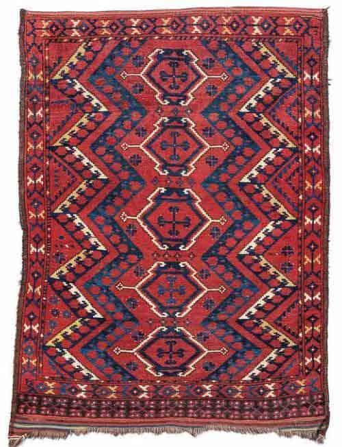 Lot 33. Ersari ensi, ca. 170 x 128 cm, second half 19th century. Estimate EUR 1,500 to 2,000