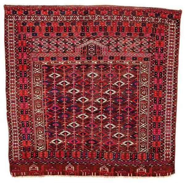 Lot 105. Arabatchie Engsi, Turkmenistan 4th quarter 19th century 4ft. 9in. x 4ft. 7in. 145 x 140 cm. Estimate €4,000 – €6,000