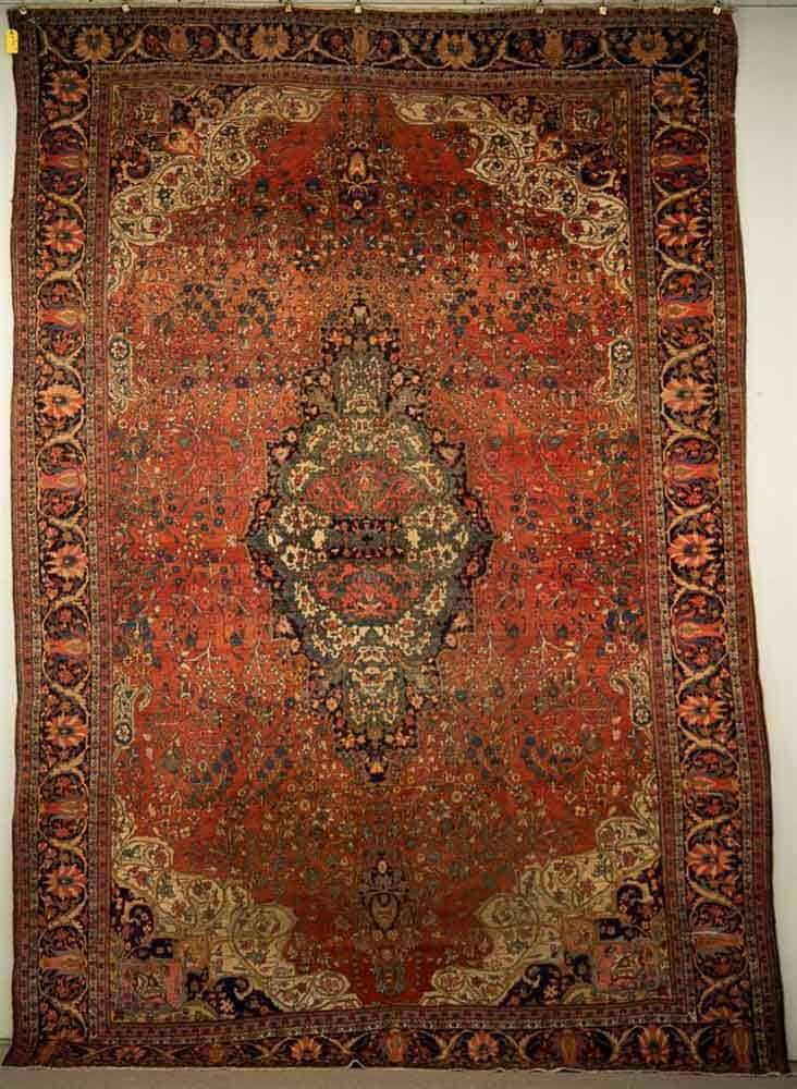 Lot 25. SAROUK FEREGHAN CARPET, Persia, late 19th century; 12 ft. 8 in. x 8 ft. 9 in. ESTIMATE: $2,000 - $4,000