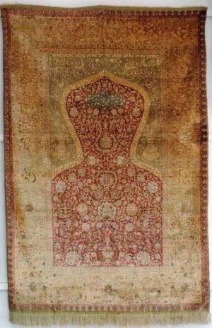 Lot 505. Anatolian Koum Kapi silk prayer rug circa 1920.