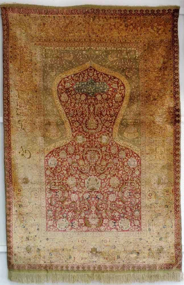 Lot 505. Anatolian Koum Kapi silk prayer rug circa 1920.