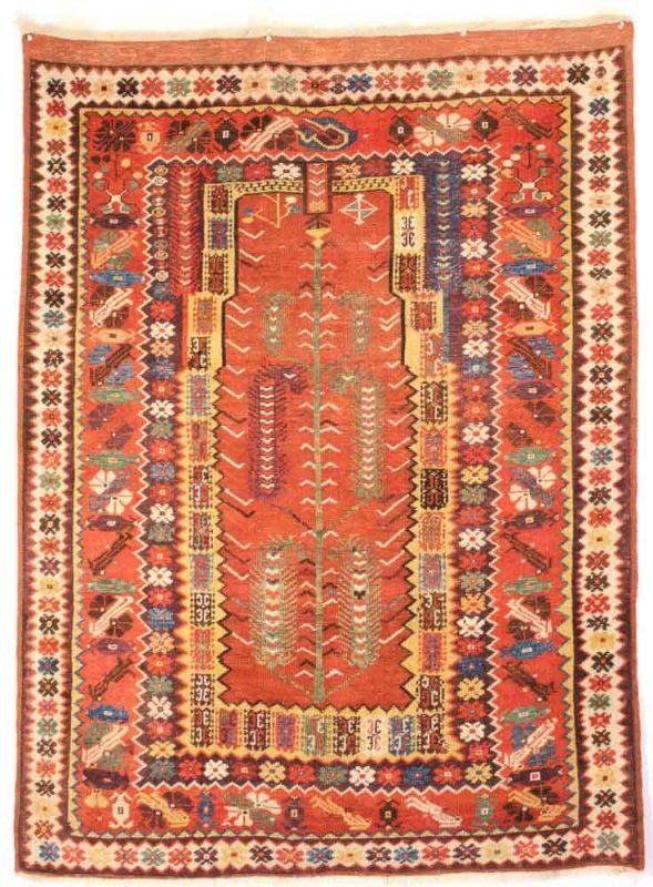 Milas 5-1 x 3-9 ft. Mid 19th century, Milas prayer rug. Exhibitor Mohammad Zavvar