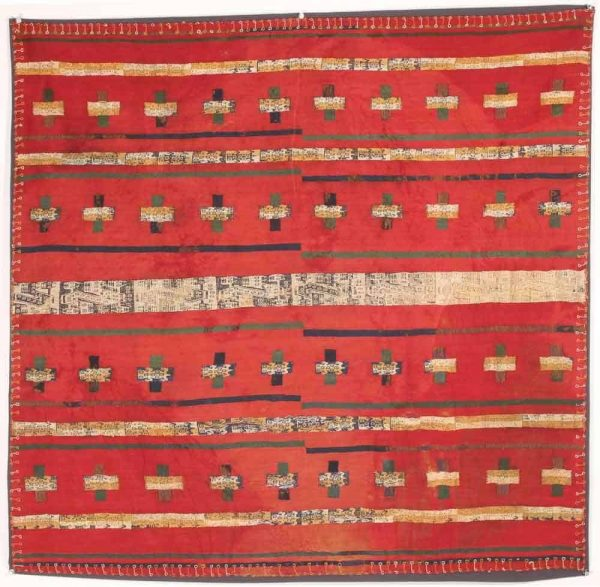 Bolivian Pre-Columbian, Peru, Central Highlands, Inca, Ca 1400 CE. Repeating anamorphic motif within cross-like and linear forms. 38.5 x 37.5 inches. Exhibitor Mohammad Zavvar