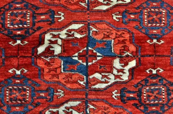 Detail of 4 x 9 gul Tekke main carpet. Exhibitor Mete Mutlu